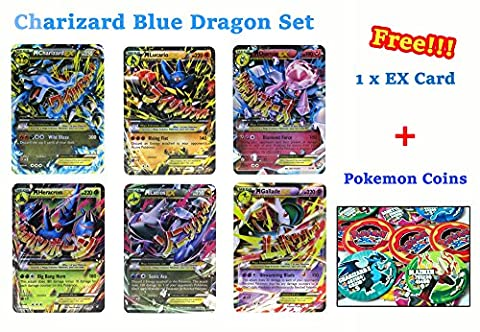 Set of 6 Mega EX Cards Charizard X Version
