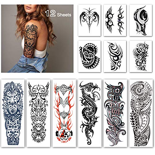 (Leoars Full Sleeve Temporary Tattoos - Waterproof Totem Arm Tattoos Temporary and Extra Large Tattoo Sleeves for Men-12 Sheets)