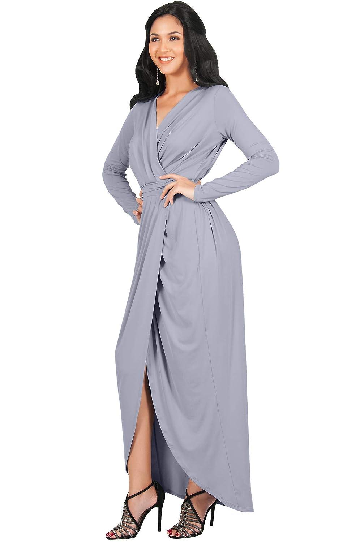 02fe993efaa Koh Koh Womens Long Sleeve Formal Wrap Draped Cocktail V-Neck Gown ...