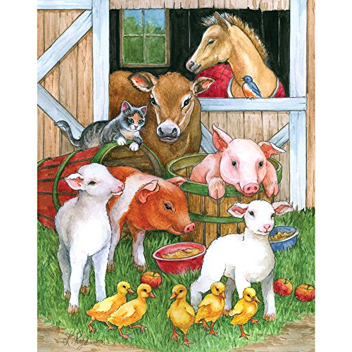 Bits and Pieces - 200 Piece Jigsaw Puzzle for Adults - Barnyard Buddies - 200 pc Farm Animals Jigsaw by Artist Lorraine Ryan