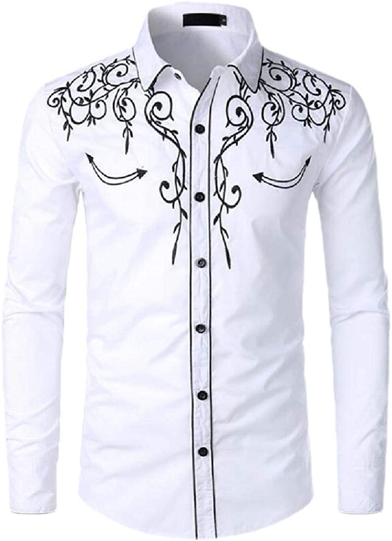 ouxiuli Mens Western Shirts Western Embroideres Cowboy Casual Button Down Shirt