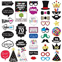 70th Birthday Photo Booth Party Props - 40 Pieces - Funny 70th Birthday Party Supplies, Decorations and Favors