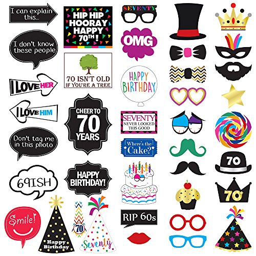 70th Birthday Photo Booth Party Props - 40 Pieces - Funny 70th Birthday Party Supplies, Decorations and - Ironman Signs Race