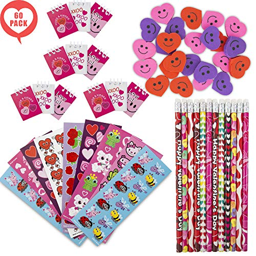 FAVONIR Valentine's Day 60 Gift Pack Stationary Party Souvenirs Favor Set - Designed Mini Notepads - Themed Pencils - Heart Shaped Erasers With Assorted Colorful Stickers - Kids Verity Goodie Bag