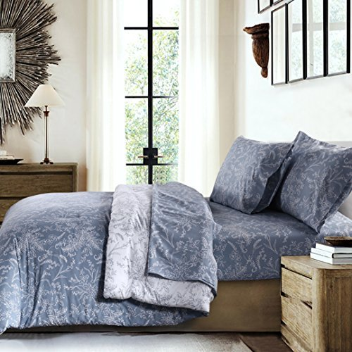 Southshore Fine Linens - Winter Brush Print - Reversible Comforter Sets, 2 Piece Set, Twin / Twin XL, Blue