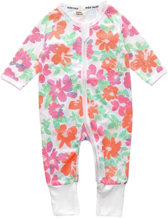 XINXINHAIHE Toddler Baby Boys Girls Long Sleeve Print Cotton Zipper Romper Jumpsuit