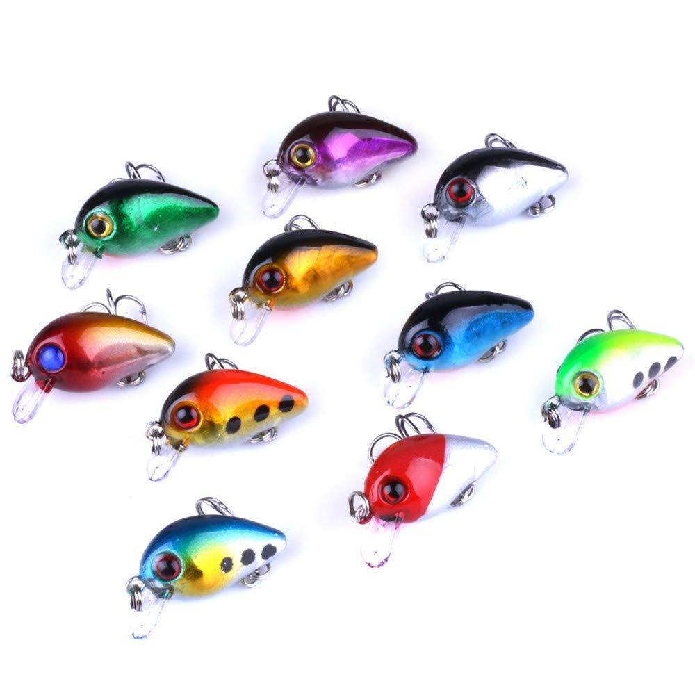 Ogquaton Simulado se/ñuelos de Pesca cebos Falsos Peces Forma cebos Mini se/ñuelos cebos para Uso de Pesca al Aire Libre 10PCS Color al Azar