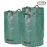 F.O.T 3-Pack 72 Gallons Garden Bag Yard Leaf Lawn Grass Waste Trash Container Garden Waste Bin, Collapsible and Reusable, Robust Polypropylen fabric(Height 30'' Diameter 26'')