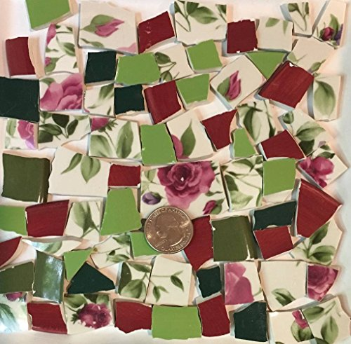 Mosaic Tile Art Supply for Mosaics & Crafts ~ Spring Red Roses & Green Leaves Tiles (T#518) by J Pepper's Art By Hand