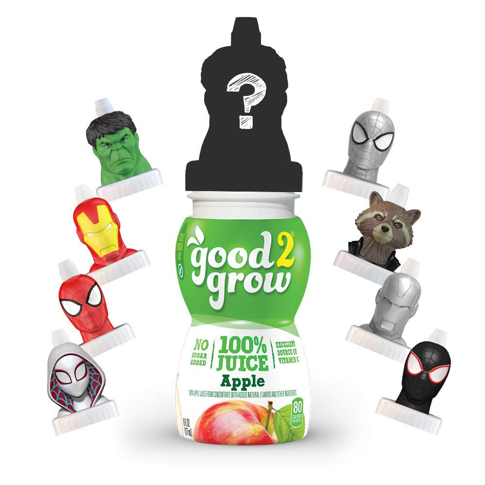 good2grow Avengers Collector Pack 100% Apple Juice, 6-pack of 6-Ounce Spill Proof Character Top Bottles, Non-GMO with no Sugar Added and Excellent Source of Vitamin C (Character Tops May Vary)