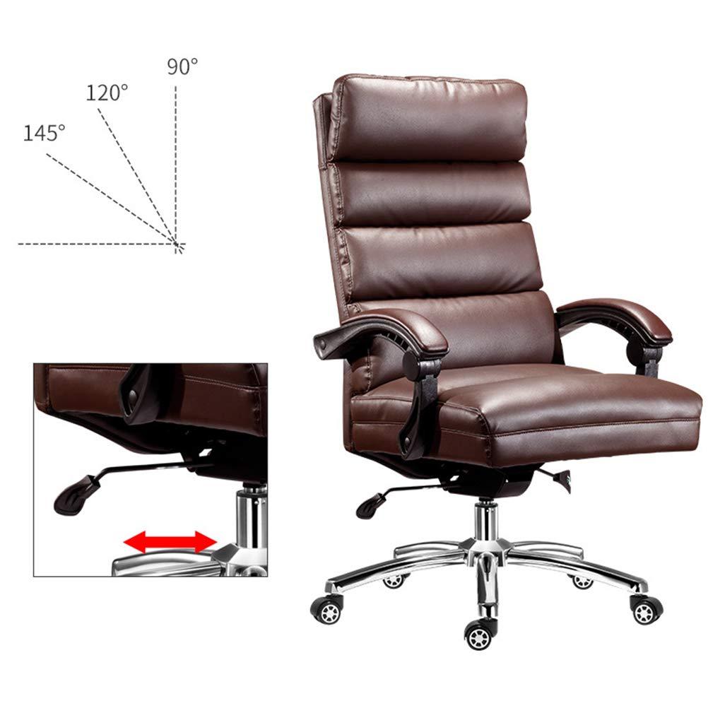 PHTW lätt tjockt material kontor chef stol, ergonomisk dator lunchpaus kontorsstol med strömlinjeformade bekväma armstöd och högt bärande plätering 5-stjärniga fötter, brun Brun