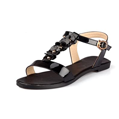 784c0a5894 AllhqFashion Women's Patent Leather Buckle Open Toe No-Heel Solid Flats- Sandals, Black