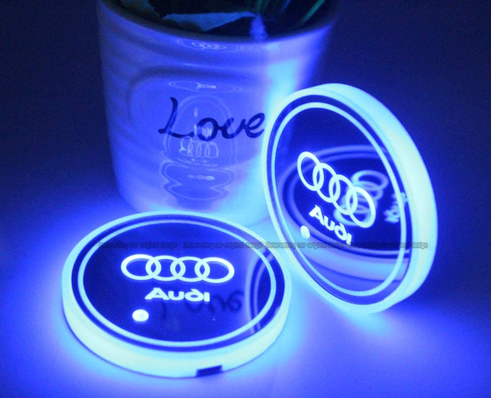 fit Audi LED Interior Atmosphere Lamp 2pcs fit Audi LED Car Cup Holder Lights 7 Colors Changing USB Charging Mat Luminescent Cup Pad