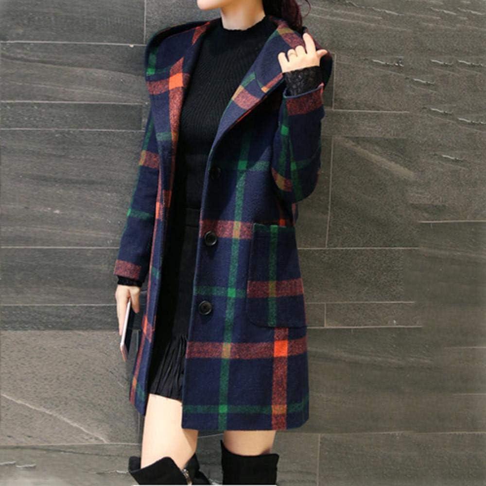 Redshop Women Coat Women Vintage Winter Warm Plaid Long Sleeve Button Woolen Pocket Jacket Coat Outwear