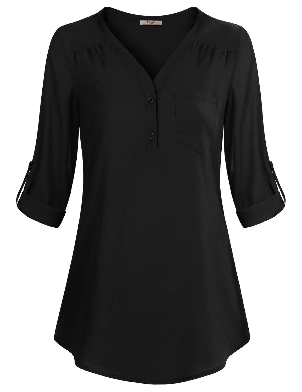 Cestyle Women's Cuffed Sleeve Casual Drape Chiffon Roll-Tab Shirt