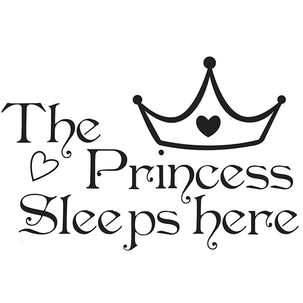 Adesivi Murali Frase Stickers Frasi Scritte Muri The Princess Sleeps Here per Camera da Letto e Dormitorio di Ragazza Principessa Decorazione Parete CDKJ