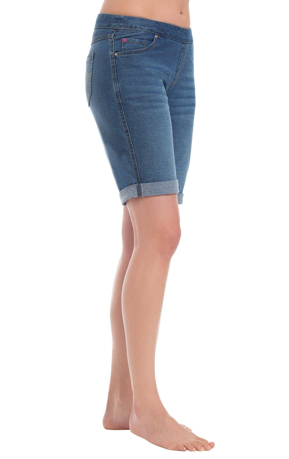 PajamaJeans Women's Lightweight Stretch Denim Bermuda Shorts, Bluestone, Medium