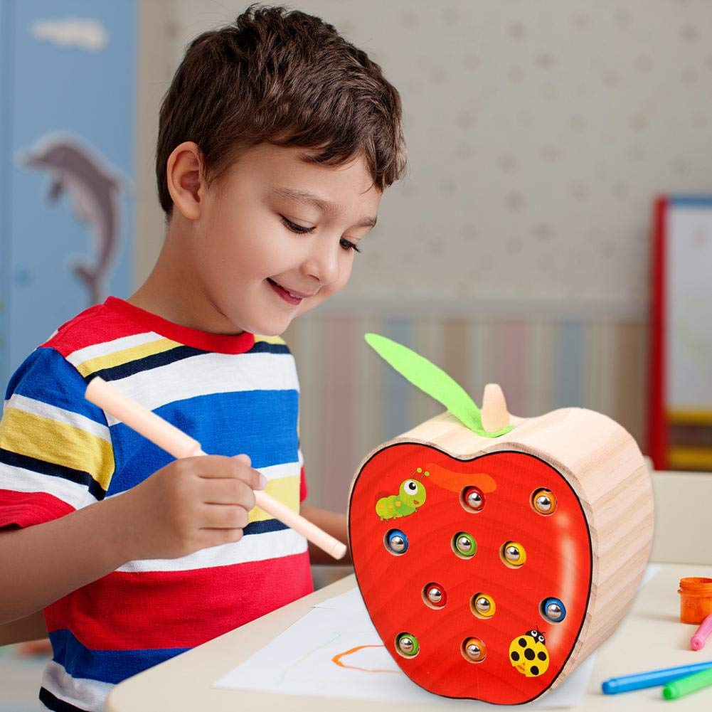 Early Childhood Education Catch Worm Game Fruit Shape Cognitive Fishing Toy UK