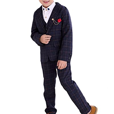 Boys Plaid Slim Fit Suit Set Blazer Vest Pants Shirt 4 Pieces Normal & Faux-Fur Lining Blue & Purple