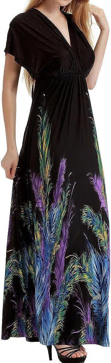 Gr/ö/ße W/ählbar FEOYA Damen Kleid Blumenmuster Feder Drucken Sommerkleid mit hoher Taille /Ärmellos Kleider mit V-Ausschnitt Maxikleider Bohemian Strandkleid Schwarz