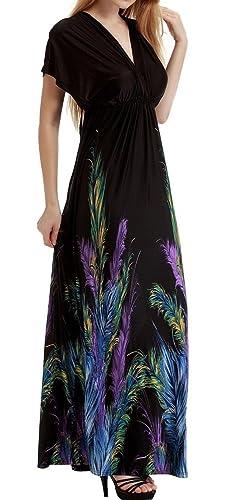 Woman Loose Boho Maxi Dress Batwing Double V-neck Empire Waist Long Beach Dress