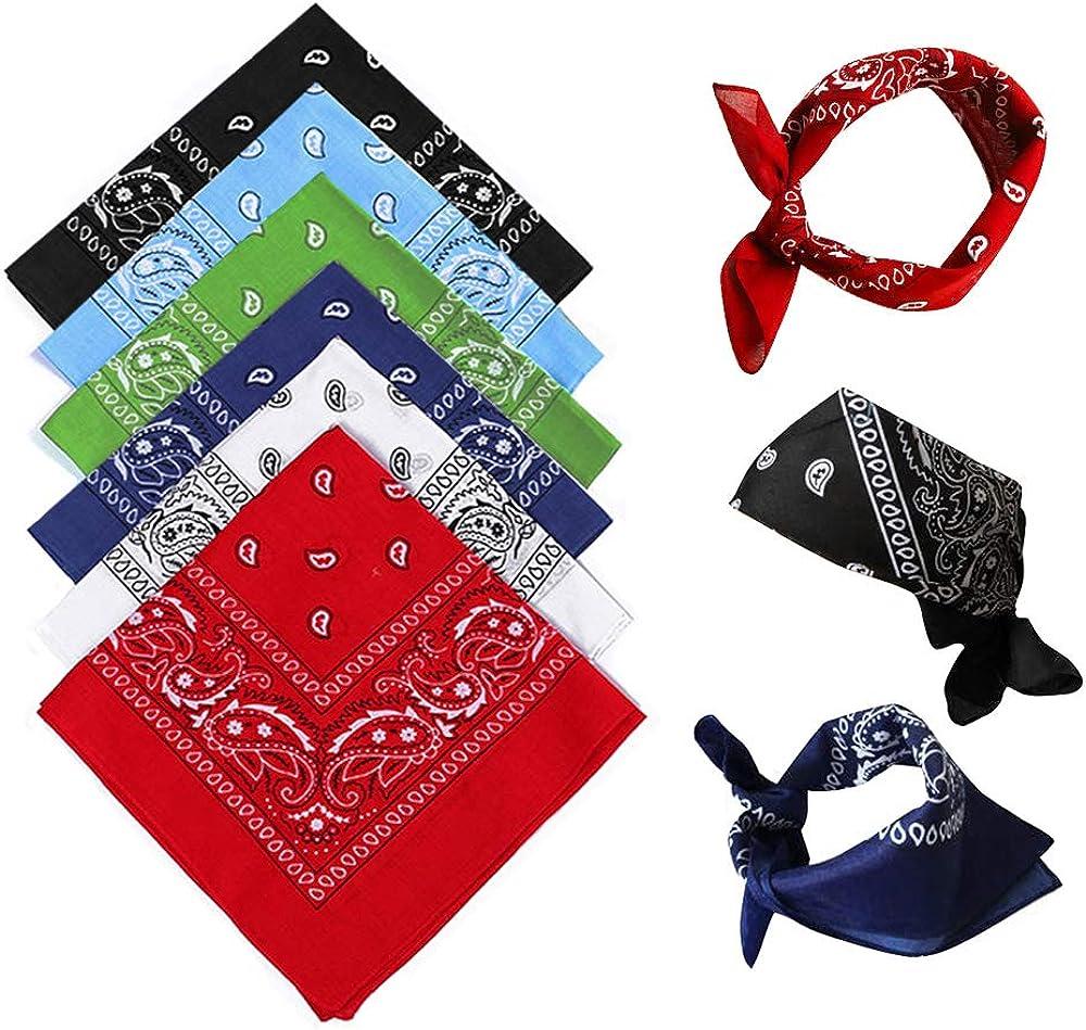 Bandanas Hombres y Mujeres de 6 Piezas, Bufanda de Algodón Paisley, Diadema de Mezclilla, Pañuelo Para Hombres, Ciclismo Hip-Hop Pañuelo Cuadrado, También Como Pañuelo/Pañuelo Para el Cuello