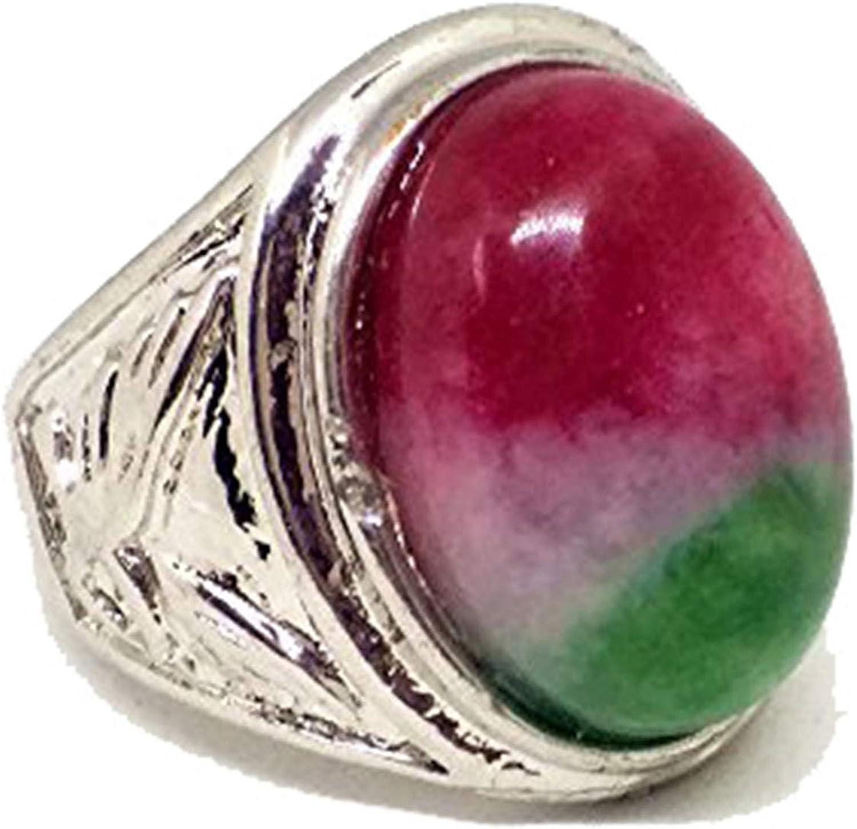 Anillo de plata vintage, con piedras de color rojo y verde, para mujer