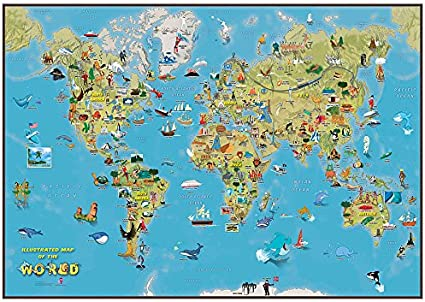 Maps International Niños Mapa de la Historieta del Mundo: Amazon ...