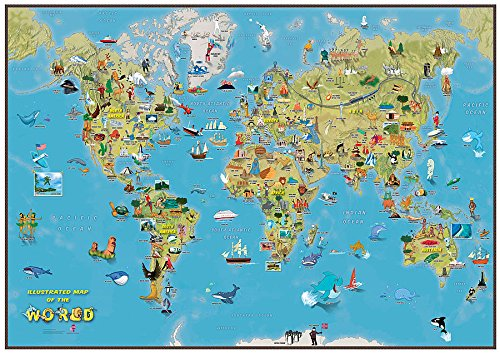 Cartoon Map of the World - Beautiful Map illustrations for Children (Animals Of The World Map)