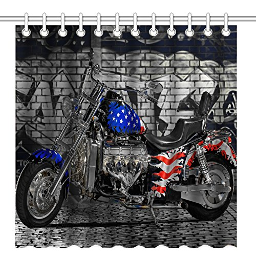vintage motorcycle shower curtain - 4