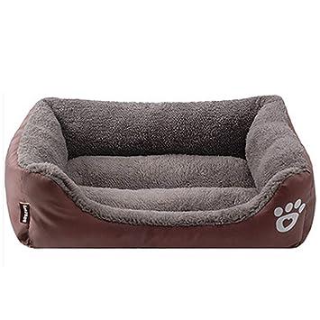 LA VIE Sofá Cama para Perro Impermeable en la Base Cojín Cama Cómoda y Suave para Mascotas Cesta para Gatos Cachorros Perros Pequeños y Medianos L Castaño: ...