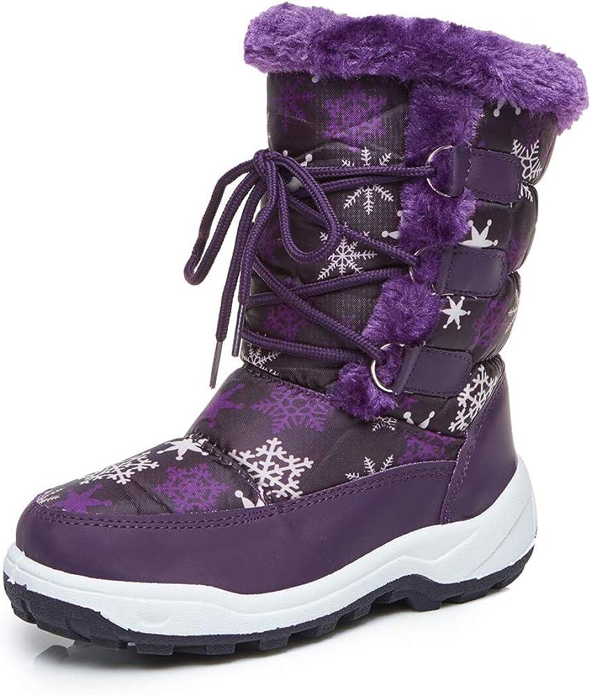 Apakowa Kids Boys Girls Waterproof Snow Boots Outdoor Insulated Fur Winter Warm Duck Boots Little Kid//Big Kid