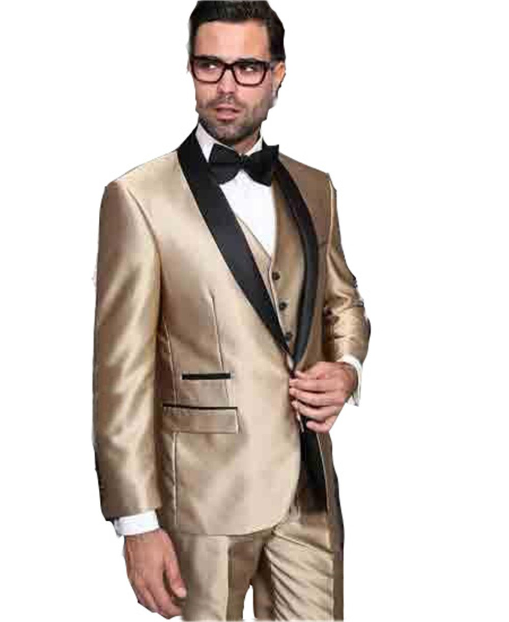 Gold and Black 3 Piece Shiny Tuxedos Men Slim Fit Suit Notch Lapel Groomsmen Tuxedos Groom Men Wedding Suits (Jacket+Pant+Vest) by Brightmenyouth