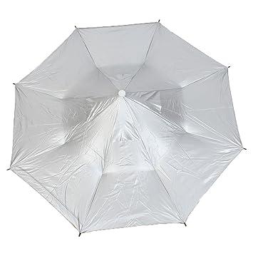 Pesca al aire libre caza correa paraguas plegable sombrero Headwear gris