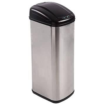 13 Gallon Touch Free Sensor Automatic Stainless Steel Trash Can Kitchen