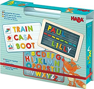 HABA Magnetic Game Box ABC Expedition - 147 Uppercase Magnetic Pieces in Cardboard Carrying Case - Learning on the Go!