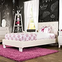 Furniture of America Mircella Tufted Leatherette Twin Size Platform Bed White White Finish