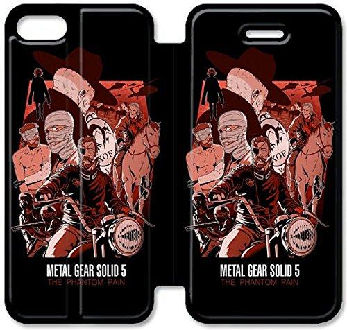 Flip étui en cuir PU Stand pour Coque iPhone 5 5S, bricolage 5 5S étui de téléphone cellulaire Metal Gear Solide V L'étui de protection 4D Phantom Pain D2P0YE