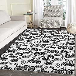 Manly Print Area rug Different Models of Motorbikes Race Adventure Amusement Extreme Sport Theme Indoor/Outdoor Area Rug 5'x6' Black White