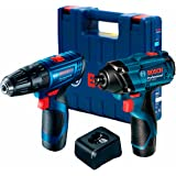 Combo Bosch 12V com 1 Chave de Impacto GDR 120-LI + 1 Parafusadeira GSR 120-LI, com 2 Baterias 2,0Ah, Carregador BIVOLT em Ma