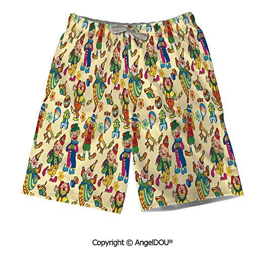 AngelDOU Men Board Shorts Bathing Suit,Cityscape,Riverside View in