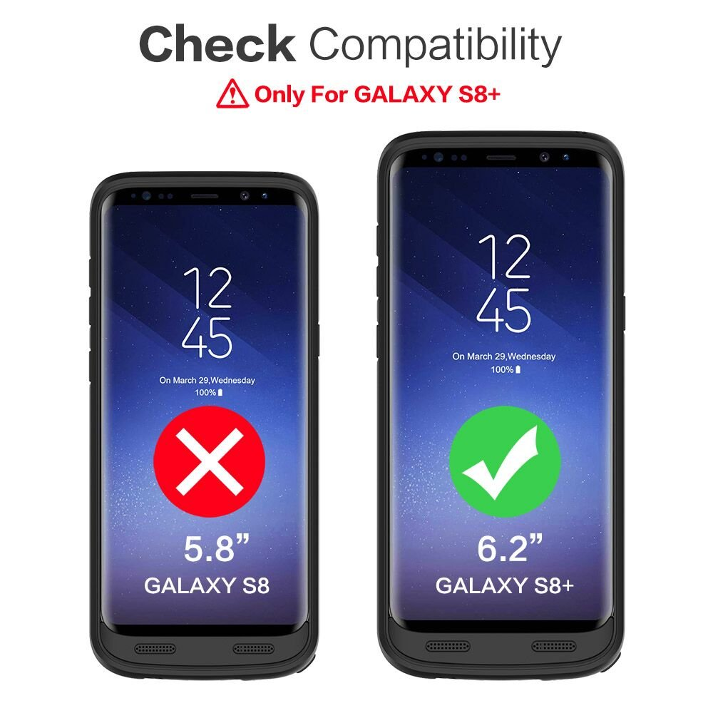 Galaxy S8 Plus Battery Case 6500mah,Rechargeable Charging CaseforSamsung GalaxyS8 Plus Backup Power Case Samsung S8+ Battery Cover-Black by Pxwaxpy (Image #2)