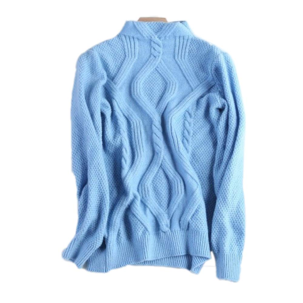 B QJKai Autumn and Winter Halfhigh Collar Cashmere Sweater Women's Warm Knitted Sweater