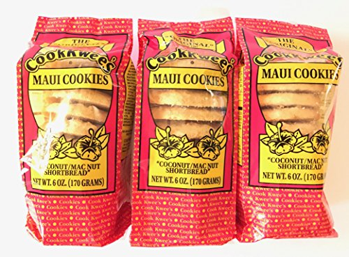 Coconut Macadamia Nut Cookies - The Original Maui CookKwees Hawaii Cookies 3 Pack- 6 oz. Each (Coconut Macadamia Nut Shortbread)
