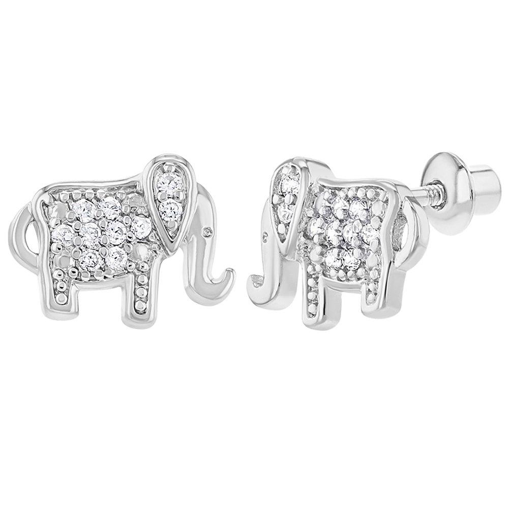 161b7ac09 Amazon.com: Rhodium Plated Clear Elephant Prosperity Screw Back Earrings  10mm: Jewelry