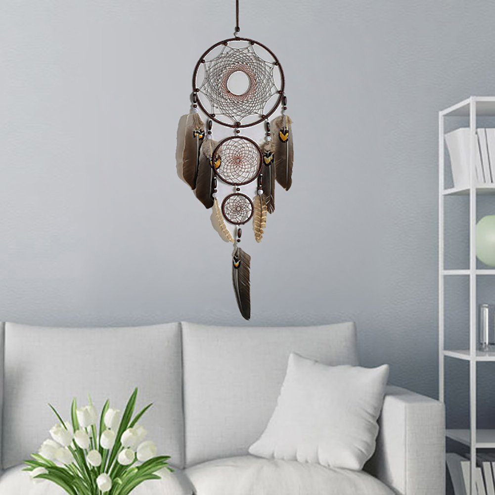 Dream Catcher IMMIGOO/® Dreamcatcher Native American Style Feathers Decoration Home Interior Mural Ornament Suspended Girl Gifts Brown
