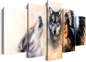 5 Panels Modern American Native Indian Wall Art Framed Vintage Chief with Two Wild Wolves Painting Prints on Animal Posters Ready to Hang for Home Decor (50''W x 24''H)