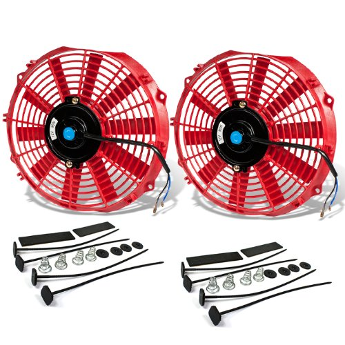 - (Pack of 2) 12 Inch High Performance 12V Electric Slim Radiator Cooling Fan w/Mounting Kit - Red