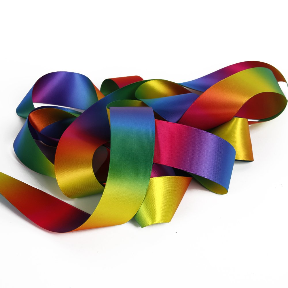 Satin Ribbon Gradient Rainbow Double Side Rainbow Colorful Printed 50 Yard 1-1/2'' Wide for DIY Handmade (1-1/2'' Wide, Satin Ribbon) by David accessories (Image #2)