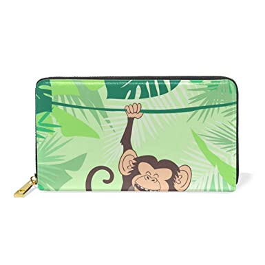 Amazon.com: Naughty Monkey Leaf - Monedero de piel auténtica ...